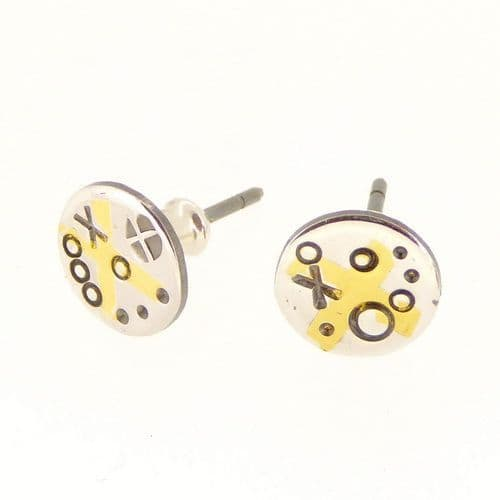 Keum boo tiny handmade ear studs silver and gold cross  small earring studs